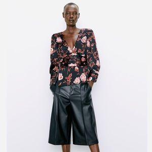 NWT Zara Rose Printed Black Satin Blouse - XS